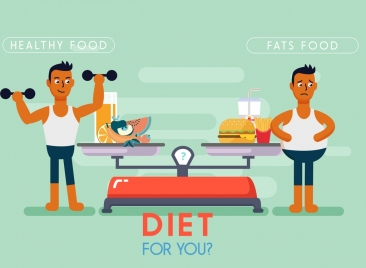 diet banner men icon contrast design