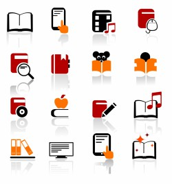 Digital books and literature icons