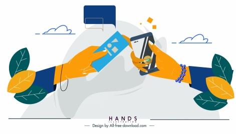 digital communication background hands smartphone sketch