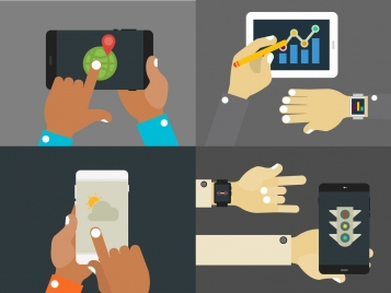 digital devices sets illustration with hands touching