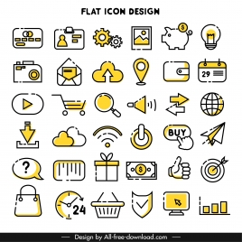 digital icons collection retro simple flat shapes sketch