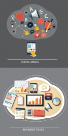 digital icons illustration for media and business tools