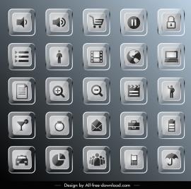 digital icons templates shiny modern glass square design