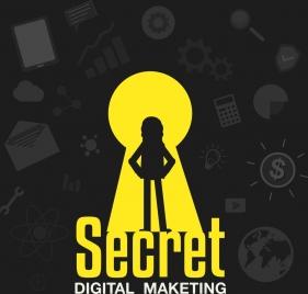 digital marketing background business icons hole silhouette decor