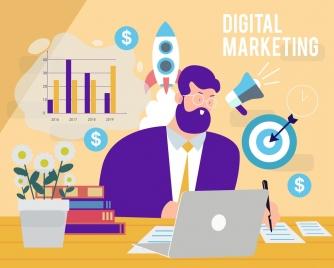 digital marketing background businessman workplace business design elements