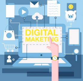 digital marketing background laptop screen business elements decor