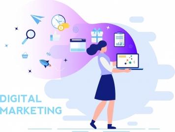 digital marketing background woman laptop business elements decor