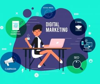 digital marketing banner businesswoman business interface icons