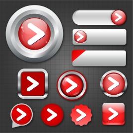 digital navigation buttons sets design in red multishapes