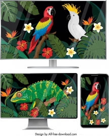 digital screen icons colorful nature elements decor