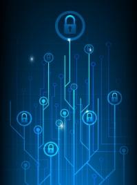 digital security background branch lock icons dark blue decor