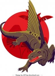 dimetrodon dinosaur icon dark classical sketch