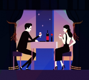 dinner background romantic couple icon colored cartoon
