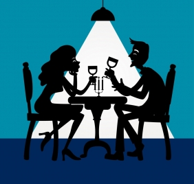 dinner background romantic couple icons silhouette decor