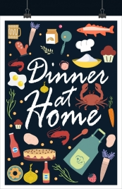 dinner background various ingredient icons decoration
