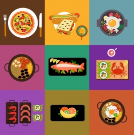 dinner cuisines icons various colored flat design