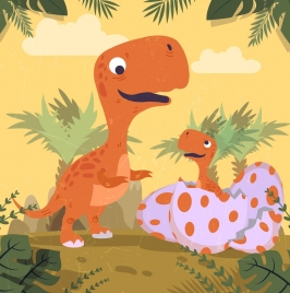 dinosaur background eggs baby icons colored cartoon