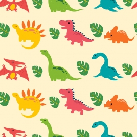 dinosaur background multicolored flat repeating icons