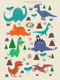 dinosaur background various multicolored species icons