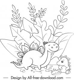 dinosaur drawing cute black white handdrawn cartoon sketch