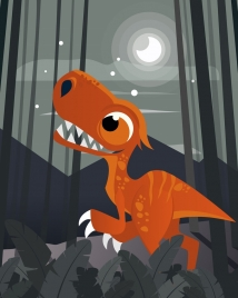 dinosaur drawing moonlight decor colored cartoon