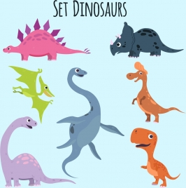 dinosaur icons collection cute colored cartoon design