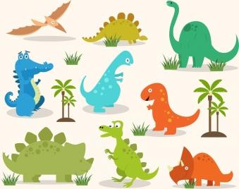 dinosaur icons colored design colored cartoon
