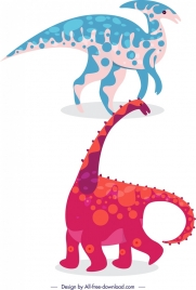 dinosaur icons long neck animals blue pink design