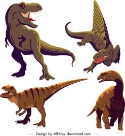 dinosaur icons t rex dimetrodon metriacanthosaurus apatosaurus sketch