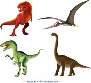 dinosaur icons tyrannousaurus pteranodon apatosaurus suchominus sketch