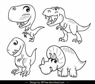 dinosaur species icons cute handdrawn cartoon sketch