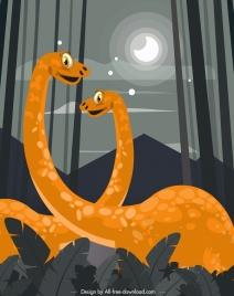 dinosaurs painting colored cartoon design