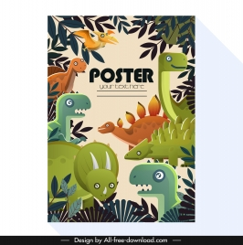 dinosaurs poster colorful flat sketch jungle decor
