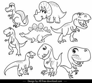 dinosaurs species icons black white handdrawn cartoon sketch