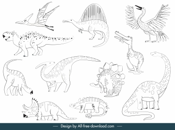 dinosaurs species icons black white handdrawn sketch