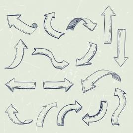 direction design elements various shapes isolation handdrawn design