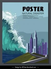 disaster poster tsunami city scene sketch