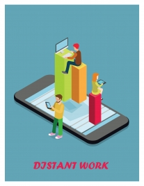 distant work vector illustration with people and technology