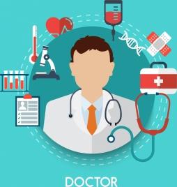 doctor career design elements various colored symbols