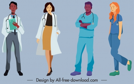 doctor job icons cartoon characters sketch