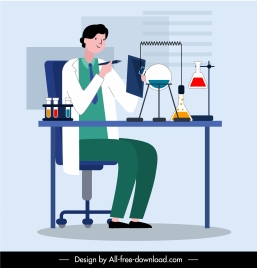 doctor laboratory occupation painting colored cartoon design