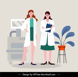doctor occupation painting colored cartoon sketch flat design