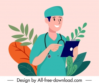 doctor work painting colored cartoon character sketch