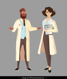 doctors icons man woman sketch cartoon characters