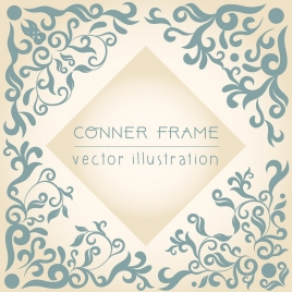 document corner frame template classical flat curves decor