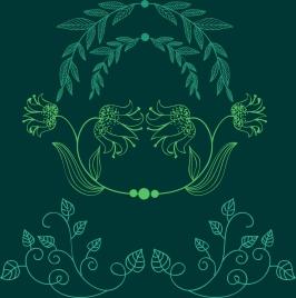 document decor design elements green leaves handdrawn sketch