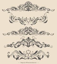 document decor elements curves shapes elegant symmetric design