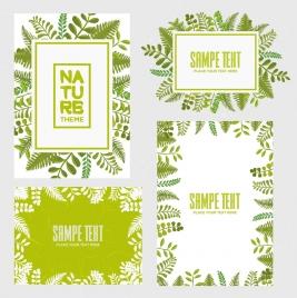 document decoration design elements green leaves retro style