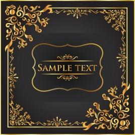 Golden background frame vectors stock for free download