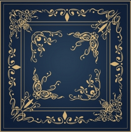 document decorative corner template classical yellow curves design